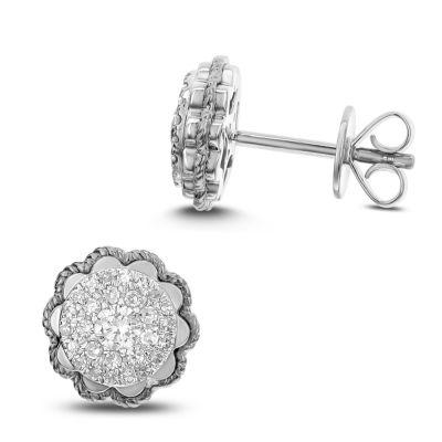 1/3 CT. T.W. White Diamond 14K White Gold 9.4mm Stud Earrings