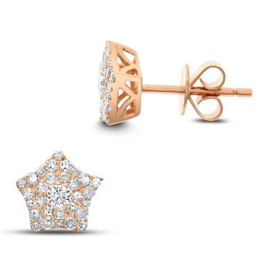 1 Pair 3/8 CT. T.W. White Diamond 14K Rose Gold Earring Set