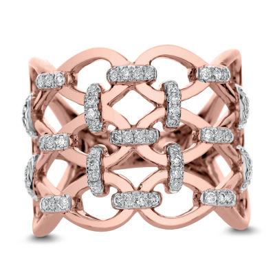 Womens 1 1/2 CT. T.W. White Diamond 14K Rose Gold Cocktail Ring