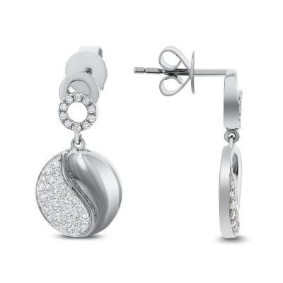 3/8 CT. T.W. White Diamond 14K White Gold Drop Earrings