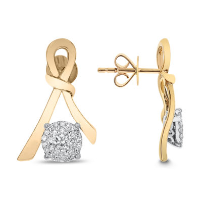 3/8 CT. T.W. White Diamond 14K Gold Drop Earrings