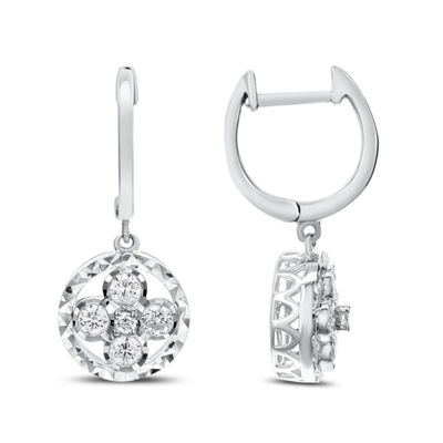 3/8 CT. T.W. White Diamond 14K White Gold Drop Earrings