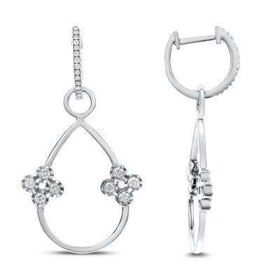 1/2 CT. T.W. White Diamond 14K White Gold Drop Earrings