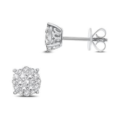 1/2 CT. T.W. White Diamond 14K White Gold 7.1mm Stud Earrings