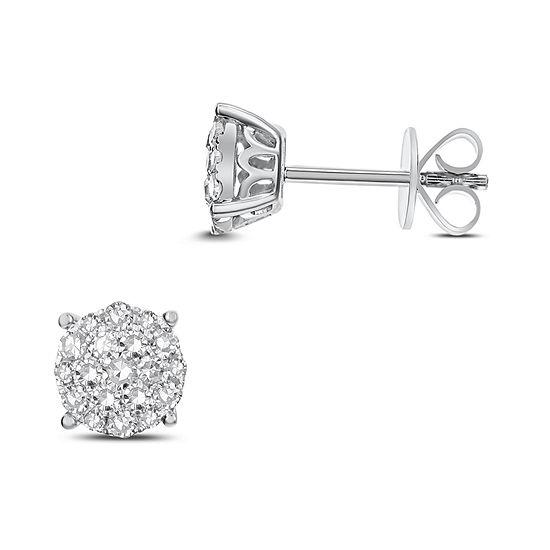 f5722530795 1/2 CT. T.W. White Diamond 14K White Gold 7.1mm Stud Earrings - JCPenney