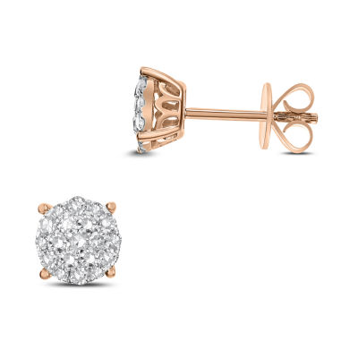 1/2 CT. T.W. White Diamond 14K Rose Gold 7.1mm Stud Earrings