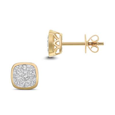 1/2 CT. T.W. White Diamond 14K Gold 7mm Stud Earrings