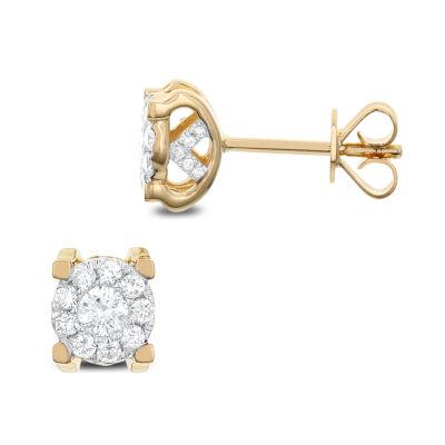 1/2 CT. T.W. White Diamond 14K Gold 7.2mm Stud Earrings