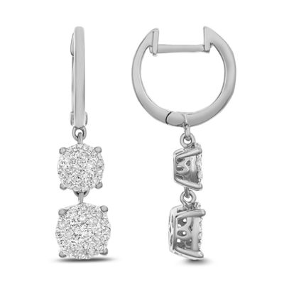 1/2 CT. T.W. White Diamond 14K White Gold Drop Earrings