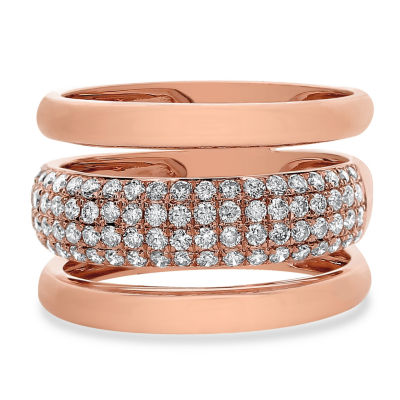 Womens 3/4 CT. T.W. White Diamond 14K Rose Gold Cocktail Ring