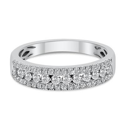 Womens 2.5mm 1/3 CT. T.W. Genuine White Diamond 14K White Gold Wedding Band