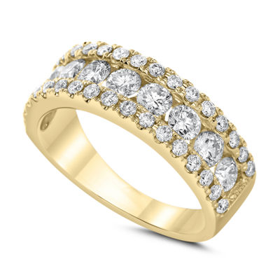Womens 3mm 1 1/2 CT. T.W. Genuine White Diamond 14K Gold Wedding Band