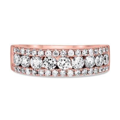 Womens 3mm 1 1/2 CT. T.W. Genuine White Diamond 14K Rose Gold Wedding Band
