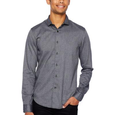 JF J.Ferrar Mens Long Sleeve Button-Front Shirt