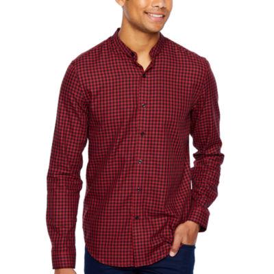 JF J.Ferrar Long Sleeve Checked Button-Front Shirt