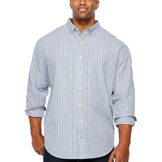 IZOD Big and Tall Mens Long Sleeve Plaid Button-Front Shirt