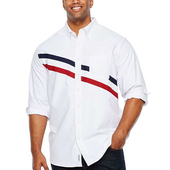 U.S. Polo Assn. Mens Y Neck Long Sleeve Striped Button-Front Shirt Big and Tall