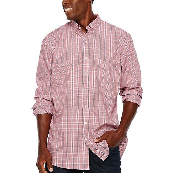 IZOD Slim Tall Slim Premium Essential Woven Plaid Mens Long Sleeve Plaid Button-Down Shirt