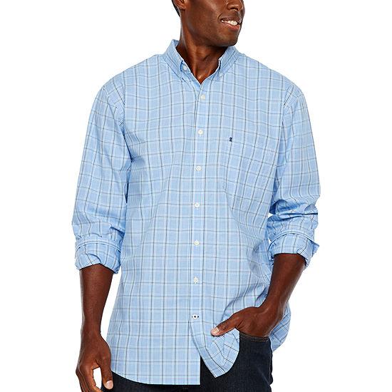 IZOD Tall Slim Premium Essential Woven Plaid Mens Long Sleeve Plaid Button-Front Shirt Slim