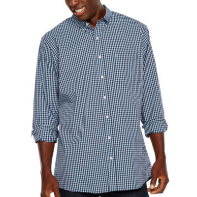 IZOD Tall Slim Premium Essential Woven Gingham Long Sleeve