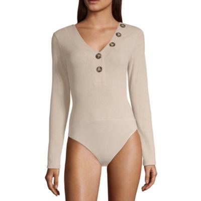 Derek Heart Womens V Neck Long Sleeve Bodysuit-Juniors