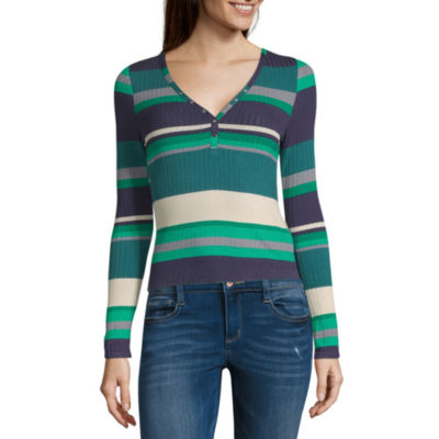 Almost Famous Womens V Neck Long Sleeve Blouse-Juniors