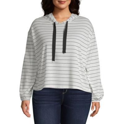 Arizona Long Sleeve Knit Stripe Hoodie-Juniors Plus