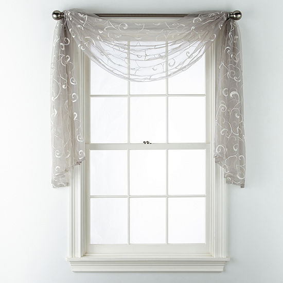 JCPenney Home Plaza Embroidery Scarf Valance