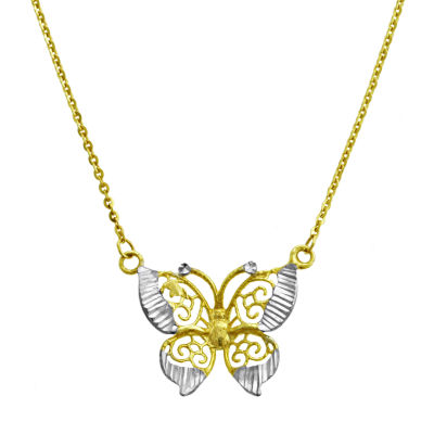 Womens 10K Gold 10K Two Tone Gold Butterfly Pendant Necklace