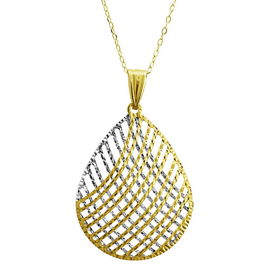 Womens 14K Two Tone Gold Pear Pendant Necklace