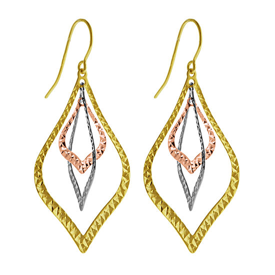 14k Gold 14k Tri Color Gold Drop Earrings