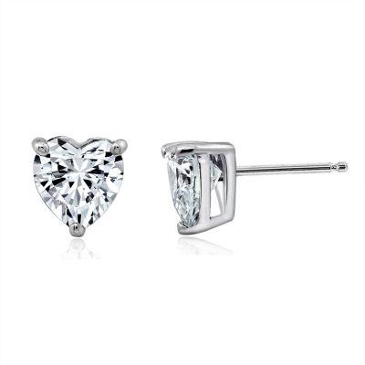 Diamonart White Cubic Zirconia Sterling Silver 16.6mm Heart Stud Earrings