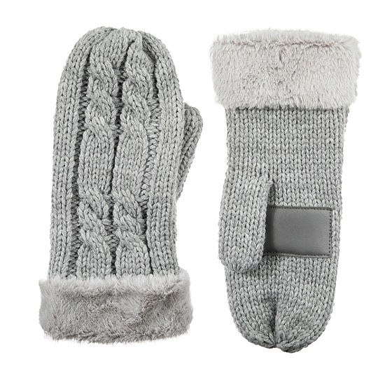 Isotoner Cold Weather Chunky Knit Mitten W/ Fur Cuff