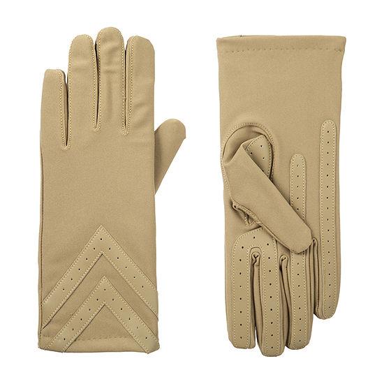Isotoner 3 Button Spandex Glove with Chevron detail