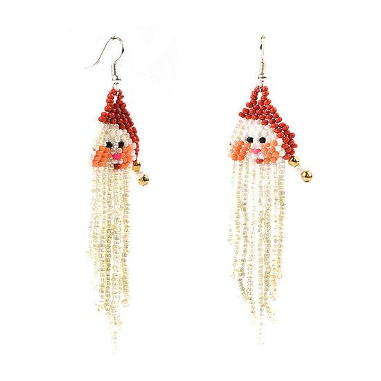 Mixit Seedbead Santa Drop Earrings