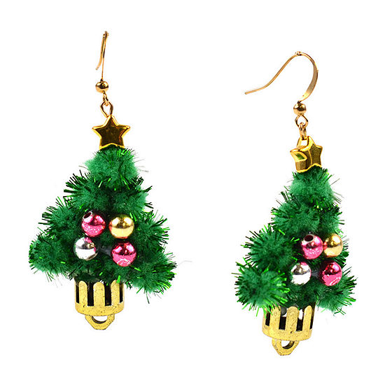 Mixit Christmas Tree Drop Earrings