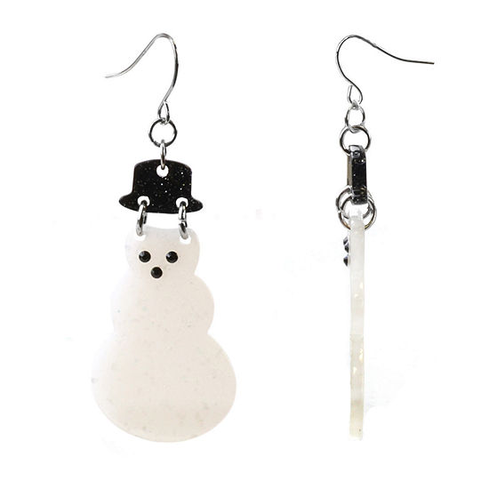 Mixit White Resin Snowman Drop Earrings