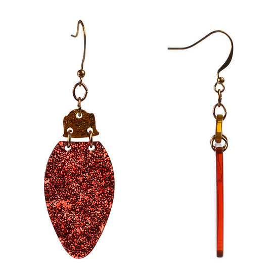 Mixit Red Glitter Resin Ornament Drop Earrings
