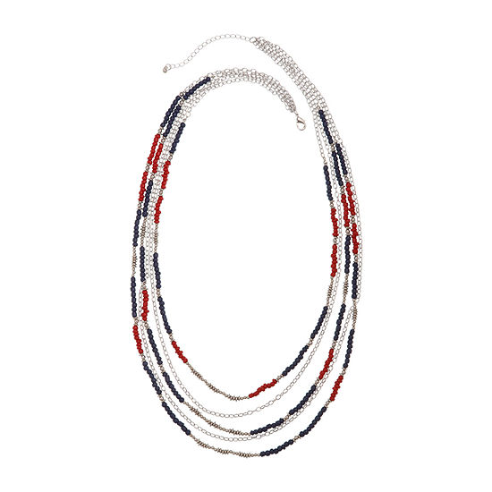 Mixit Americana Womens Beaded Necklace