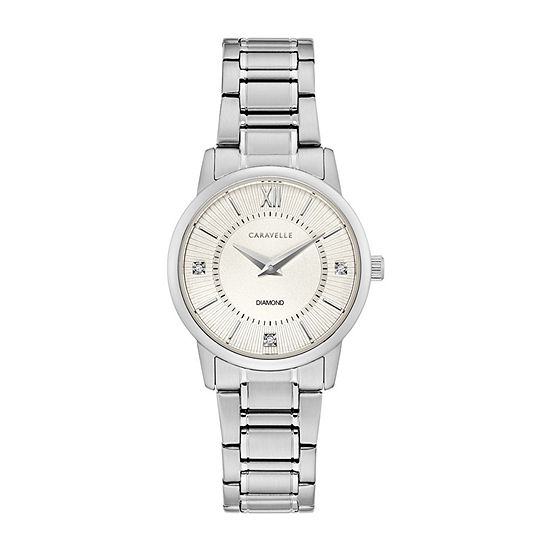 Caravelle Designed By Bulova Womens Silver Tone Stainless Steel Bracelet Watch-43p111
