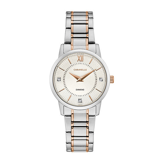 Caravelle Womens Two Tone Bracelet Watch-45p110
