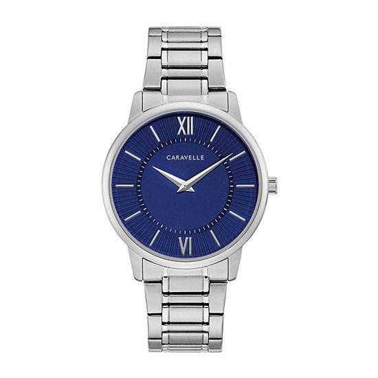 Caravelle Mens Silver Tone Stainless Steel Bracelet Watch-43a151