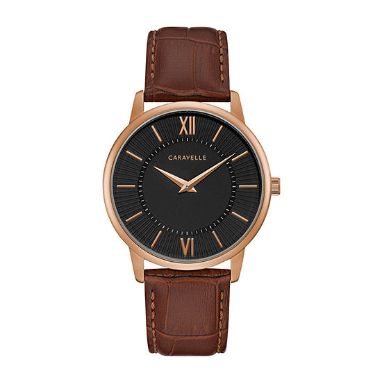Caravelle Mens Brown Leather Strap Watch-44a115