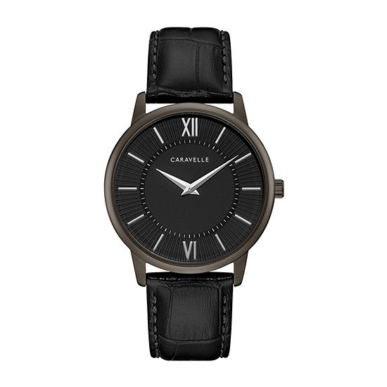 Caravelle Designed By Bulova Mens Black Leather Strap Watch-45a147