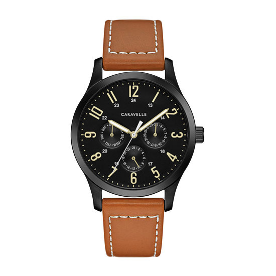 Caravelle Designed By Bulova Mens Brown Leather Strap Watch-45c117