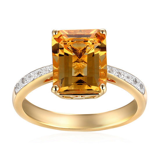 Womens Genuine Yellow 14K Gold Over Silver Cocktail Ring