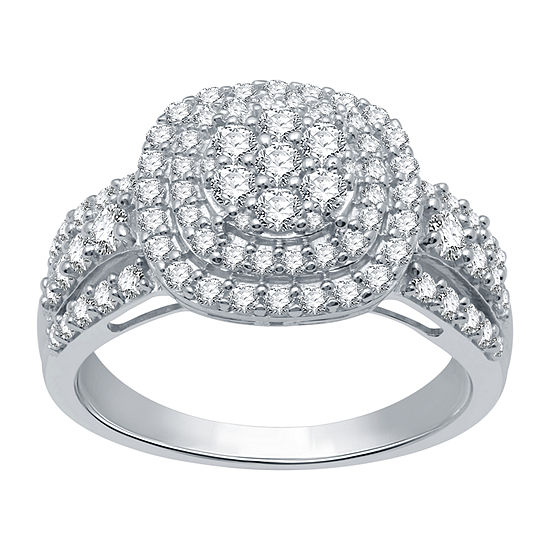 Ever Star Womens 1 CT. T.W. Lab Grown Diamond 10K White Gold Cocktail Ring