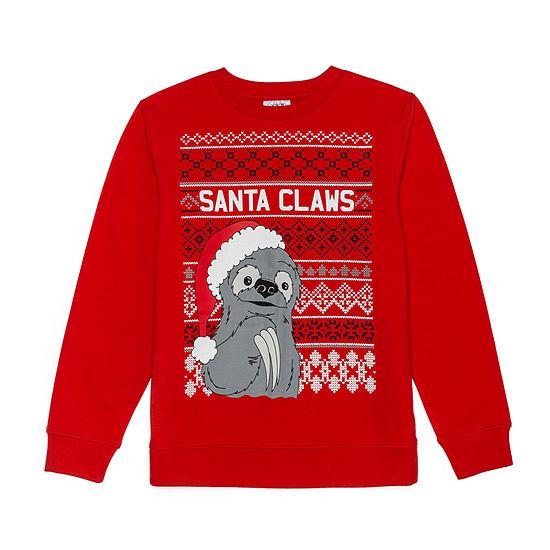 Christmas Fleece.Christmas Fleece Boys Crew Neck Long Sleeve Sweatshirt Big Kid