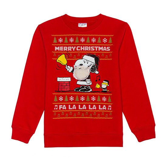 Christmas Fleece Big Boys Crew Neck Long Sleeve Snoopy Sweatshirt