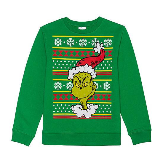 Christmas Fleece Boys Crew Neck Long Sleeve Grinch Sweatshirt - Big Kid